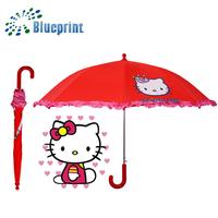 Beautiful Ruffle Brim Kitten Printing Safety Open Children Umbrella