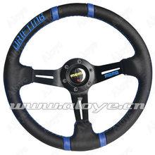 Blue MOMO Leather Drifting Steering Wheel