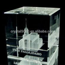 LDS Twin Falls Idaho Temple 60 x 60 x 60mm Crystal Cube