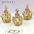 Monnel h325-1 personalizado 3d tom de ouro coroa de rei diy metal colar pingente charme decorações do partido