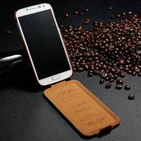 Retro flip PU leather smart design for S4 I9500 mobile phone case
