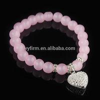 Promotional Beaded Bracelets Bulk Pink Agate Beads Bracelets With Polymer Rhinestone Heart Charm