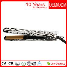 100% Ceramic black flat hair iron hair straightener iron,flat irons ,,zebra Black /white color