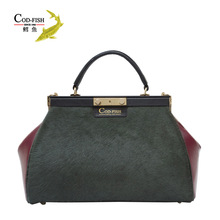 China supplier best selling branded luxury leather silver handbag for lady