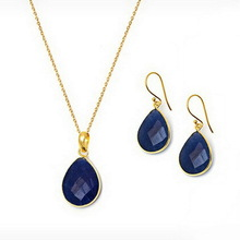 Hot sale small size navy teardrop crystal necklace and matching earring
