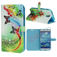 Flower Butterfly Magnetic Wallet PU Flip Leather Stand Cover Case For Samsung Galaxy s4