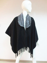 New product winter warm black poncho scarves with fur custom pashmina scarf with tassel china wholesale