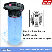 New designed hiking/camping/fishing product UV sterilize bottle for outdoor sport use