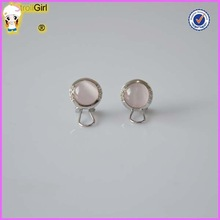 Pink glass beads earrings silver transparent earring opal stud earrings