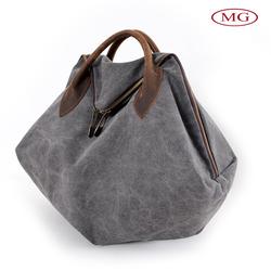 ladies' grey vintage hand bag,retro canvas tote bags