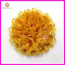 """Fashion 3.5"""" Dia ruffle satin ribbon and lace flower in stock"""