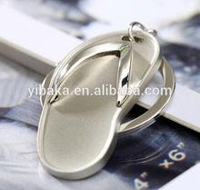 Wholsale Fashion Blank Slipper Alloy 3D Charm Big Keychain Custom Logo Keychain