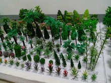 Various iron wire and plastic miniature railroad model landscape layout trees