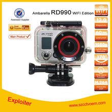 Full hd 1080p wireless Waterproof 60M Ambarella Wifi action Sport Camera RD990 camcorder car black box