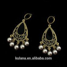EZ-6 Antique bronze Pearls Dangle Heavy Bridal Earrings