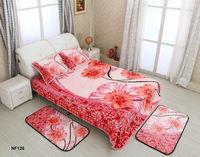 2014 New Design 100% Polyester raschel 5 pcs bed sheet set