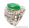 crystal natural gemstone 316l stainless steel green jade ring