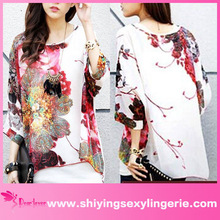Hot Sale Large Size Batwing Sleeve Watercolor Painting Chiffon Blouse wholesale clothing