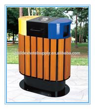 outdoor wood garbage bin