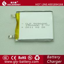 Hot travel tourism product Li-polymer 505060 3.7V 1500mah battery