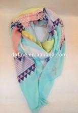 Ladies 100% polyester geometry printed scarf