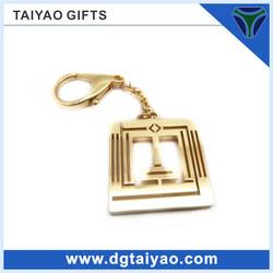 door shape hollow gold plated metal keyring