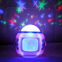 Music and Starry Sky Calendar Clock with Date / Week / Temperature / Music / Dynamic Projection of Colored Starry Sky / Ararm /