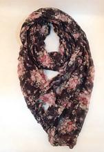 Ladies 100% polyester floral printed scarf