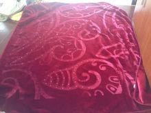 Fashion design 100% polyester raschel blanket, diamante blanket