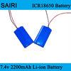 (SR-Li2200) Customized Lithium ion icr 18650 rechargeable 2200mah 2s1p 7.4v li-ion 18650 battery pack