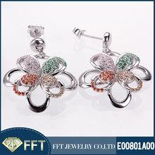 Splendid colorful stone 925 silver earring