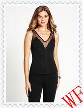 HOT! unique design girls sexy black dot mesh sleeveless tops