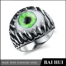 In Stock Wholesale Stainless Steel Antique Green Devil Evil Eye Ring