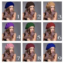 Winter Wool Warm Solid Beret Beanie Hat Ski Cap