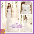 Chiffon Wedding Dress Embroidery New Arrival robes de soiree Brides Gown Bateau Neck Button Closed Back Formal Dress