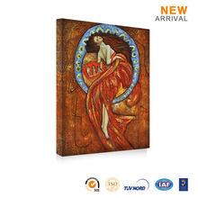Printed Oriental Elegant Dancing Woman Painting