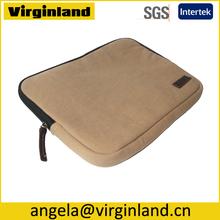 8003 Portable Khaki Canvas Sleeve Case Laptop 13 Zip With Shockproof EVA Padding For Travelling