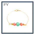 Gold Mint and Coral colorful Gemstone Beaded Bracelet