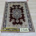 2.5'x4' Red Handmade Nice Silk Rug
