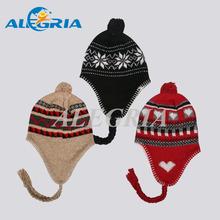 Custom knitting acrylic beanie hat with ear flap
