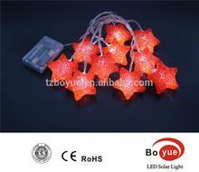 New Christmas white lights 10 LED EVA red star shape Battery String Light