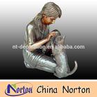 kneeling children feeding dog brass statue NTBH-C272