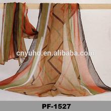 Long Soft women's silk colorful wave stripe Chiffon Scarves shawl