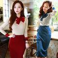2014 nuevo de la moda las mujeres twinset coreano estilo lindo otoño invierno de dos piezas vestido de arco blusa de punto de alta y la cintura falda midi 8067