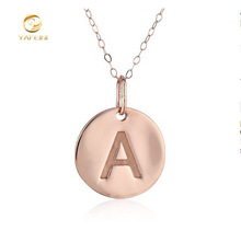 MLX00040 Tiny rose gold round plain letter A Initial disc charm pendant necklace