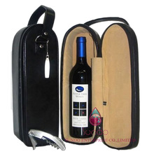 black faux leather wine carrier with velvet lining