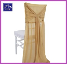 Tie Back Chiffon Wedding Chair Covers With Sash