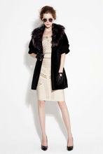 Short sleeve fur collar women's winter warm long coat jacket 2014
