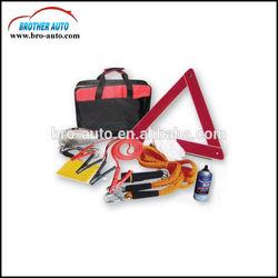 Roadside 10pcs multifunctional auto Emergency tool Kit manufacturer with warning triangle reflective vest