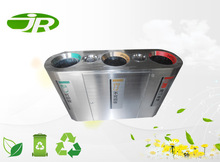 round stainless steel recycling trash can 3 compartments